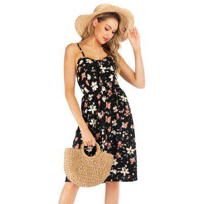 Women Summer Boho Sleeveless Floral Printed Beach Mini Dress Summer Casual Party Dress