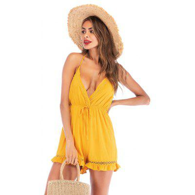 Women Summer Hot Rompers Sexy Beach Party Backless Ruffuled Mini Jumper Dress