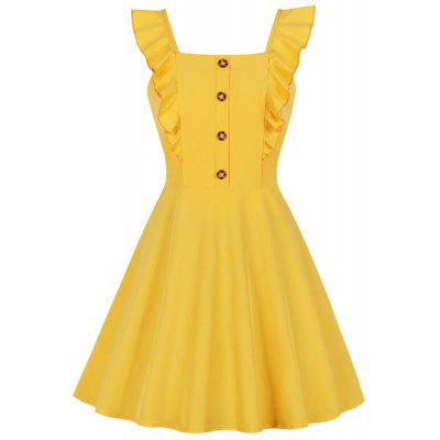 Women Sexy Vintage Style Pinup Swing Yellow Summer Retro Party Mini Dress