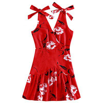 Women Knotted Strap Backless Floral Print Flounce Summer Casual Beach Party Dress