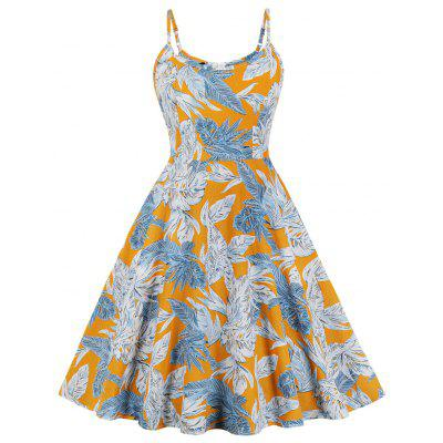Vintage Dress Sweetheart Neck Floral Printing Sleeveless patchwork A-line Summer Casual Dress