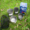 Yougle 4pcs Outdoor Camping Backpacking Cooking Picnic Non-Stick Aluminum Cookware Set Pot Bowl