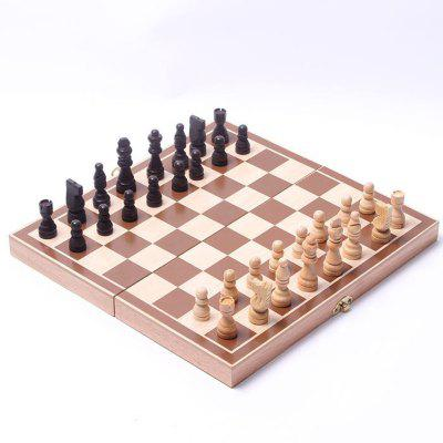 Wooden International Folding Board Chess Chessmen Collection Portable Chesses Game