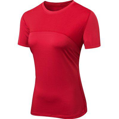 Women Lady Yoga Running Fitness Workout Gym Tight Blouse T Skirt Quick Dry Elastic Short Sleeve