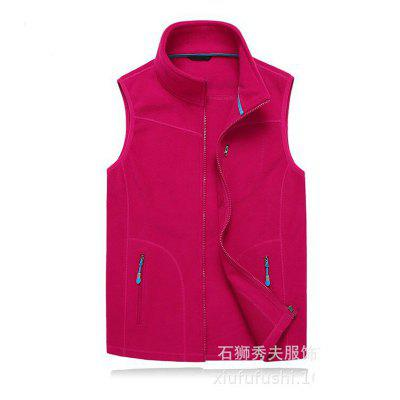 Women Men Full Zip Spring Autumn Winter Vest Fleece Jacket For Hiking Camping Outdoor Sports