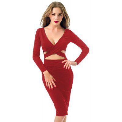Zeagoo Women Casual Long Sleeve Solid V Neck Sexy Dress