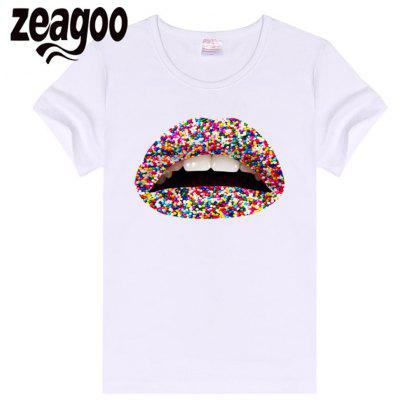 Zeagoo White Women Violent Casual Lips printed T-shirt Female