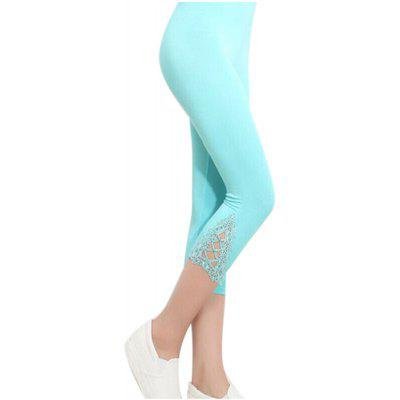 Zeagoo Women Casual Hollow Lace Solid Slim High Waist Mid Calf Leggings