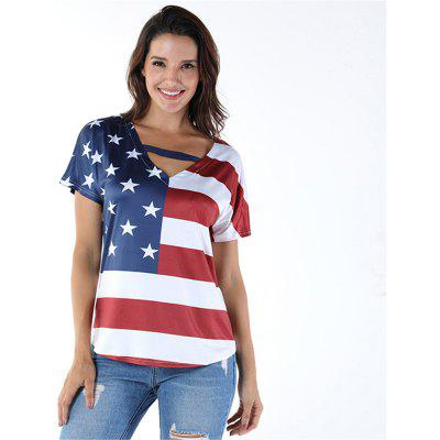 Summer Women T-shirts US United States America Flag Printed Loose Short Sleeve V-neck Tops