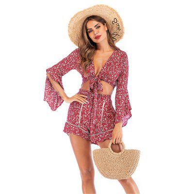 Zeagoo Women Chiffon V-neck Floral Beach Flare Sleeve Tops Short Pants Two-Piece Set