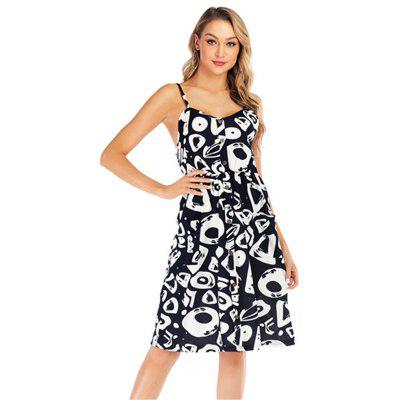 Zeagoo Women Summer Casual Dress V-Neck Printed Backless Side Pockets Sleeveless