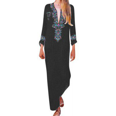 Women New Long Dress Casual V-Neck Long Sleeve Loose Printed Dress Female