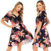 Zeagoo Women Summer Casual Loose V-Neck Floral Ruffles Short Sleeve Short Dress