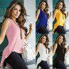 New Fashion Women Casual O-Neck Sleeveless Back Split and Asymmetrical Hem Vest T-shirt