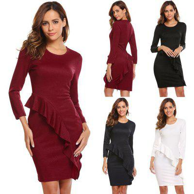 Women O-Neck Nine Points Sleeve Ruffles Solid Casual Party Business Slim Dress
