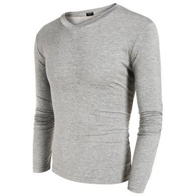 COOFANDY Men Long Sleeve V-Neck Stretch Pure Color Stretch Slim Basic Casual Tops T-shirt