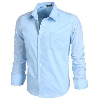 Fashion Men Slim Long Sleeve Turn-down Neck Single Breasted Solid Casual Shirt