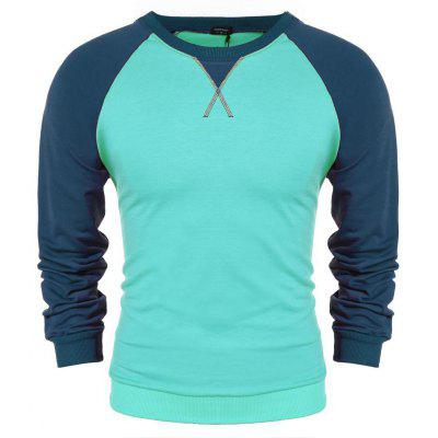 Men Casual Long Sleeve Pullover Tops Splicing Color Loose Leisure Sports Hoodie