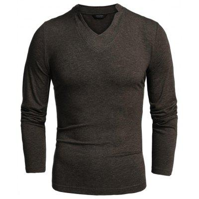 Men Long Sleeve V-Neck Pure Color Cotton Stretch Loose Casual Basic Tops T-shirt