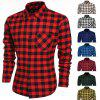 Fashion Mens Casual Leisure Grid Long Sleeve Lapel Shirts