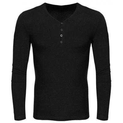 COOFANDY Men Casual V-Neck Long Sleeve Pure Color Cotton Slim Basic Tee Leisure Tops T-shirt
