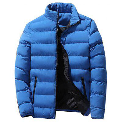 Men Warm Coat Long Sleeve Stand Collar Zipper Winter Outwear With Pockets