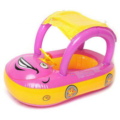 Baby Swim Ring Cartoon Inflatable Car Float Seat Water Sport Toy With Awning Car Seat wheel Safety