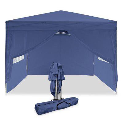 Polyester Pop Up Canopy 10 by 10ft Party Camping Tent Aluminum Tube Support with 4 Side Panels