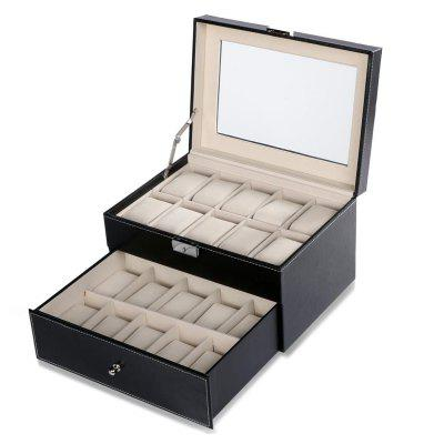 Synthetic Leather Glass Window 2 Tiered 20 Watch Holder Display Storage Store Organizer Box Case