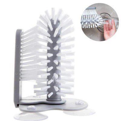 Durable Practical Wall Suction Rotate Double Brush Cup Brush