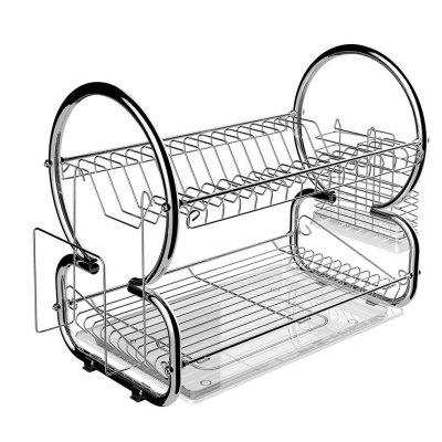 Home Kitchen 2 Tier Dish Rack Space Saver Dish Drainer Drying Rack