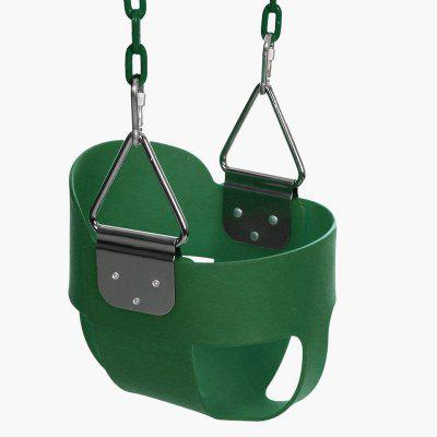 Outdoor Play Kids High Back Full Bucket Swing Seat with Coated Chain in Home Garden