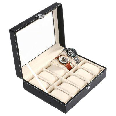 Synthetic Leather Glass Window 10 Slots Watch Storage Display Box Jewelry Case