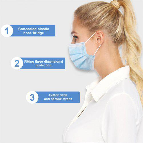 3-Layer Disposable Mouth Mask Breathable Elastic Earloop Protective Face Masks