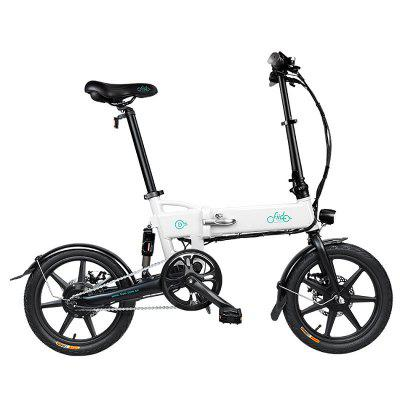 FIIDO 16 Inch Mini Electric Bicycle Smart Folding Electric Bike beach bike Front Disc Brake Light Moped Pedal Bicycle US Image