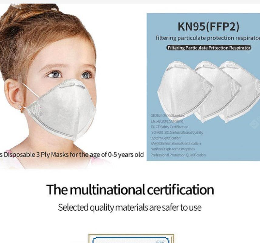 10Pcs Kids Disposable 3 ply KN95 FFP2 Masks for Children under 6 years old