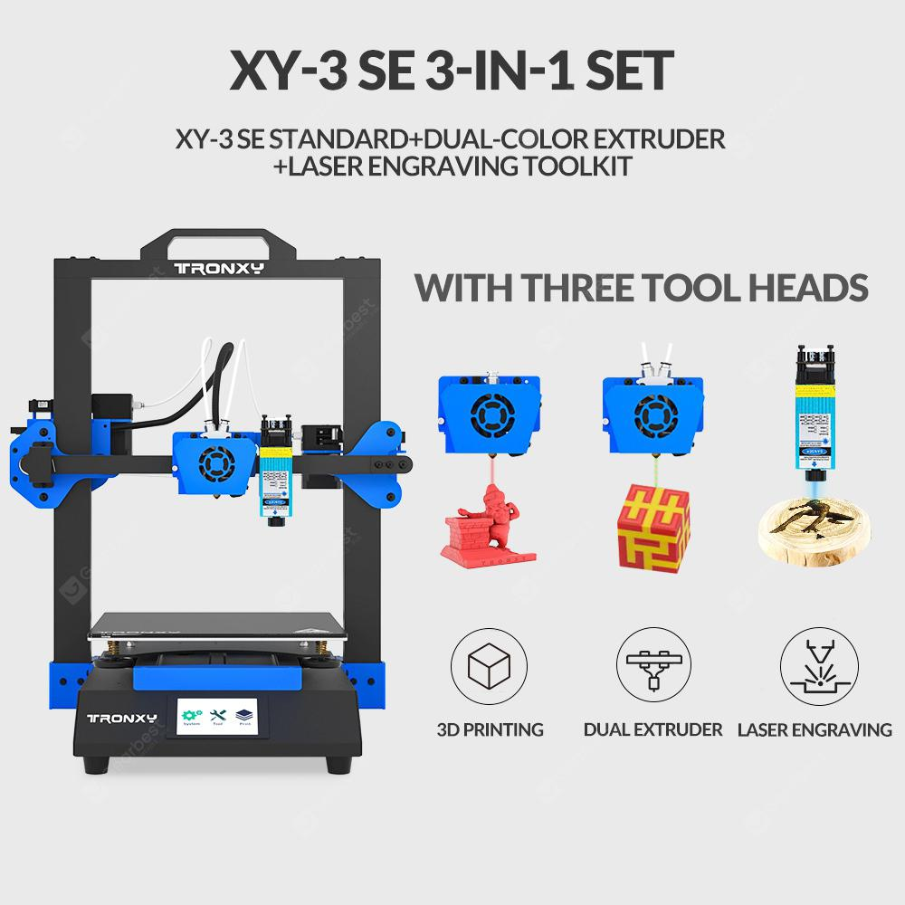 Tronxy XY-3 SE Comes Standard With Single Head/Single Head + laser Engraving/Three-in-one 3D Printer 255X255X260mm