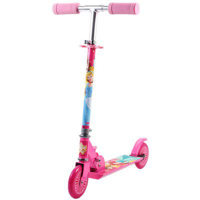 Disney 2 Wheels Scooter Aluminium Princess Kick Scooter Portable for Girls Outdoor Play Gift Pink
