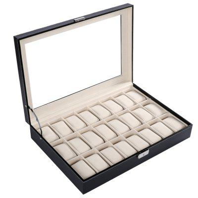 24 Grids PU Leather Watch Box with Transparent Glass Cover Black Jewelry Storage Case Organizer