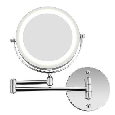 Bathroom Wall LED Cosmetic Folding Lamp Retractable Double Sided Magnification Beauty Mirror