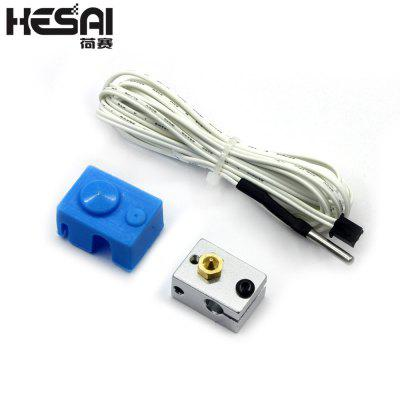 HESAI 3D Printing Fittings V6 PT100 Aluminum Block Silicone Sleeve Set Thermistor Line
