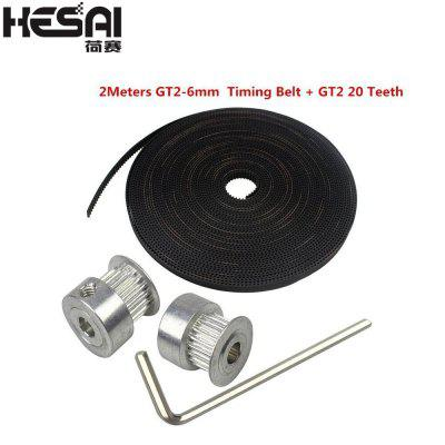 HESAI 3D printer GT2 20 teeth hole 5mm 8mm aluminum pulley 2m rubber 6mm open bandwidth