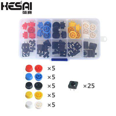 HESAI 25PCS Tactile Push Button Switch Momentary  Micro switch button Tact Cap 5 colors for Arduino