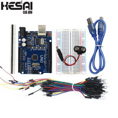 HESAI Bundle of Items Breadboard Jumper Wires USB Cable and 9V Battery Connector for ARDUINO DIY KIT