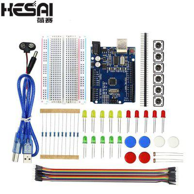 HESAI Starter Kit  R3 Mini Breadboard LED Jumper Wire Button for Compatile with Arduino diy Kit
