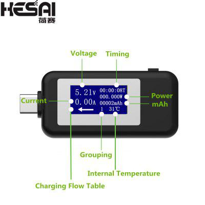 HESAI Type-c USB Tester DC 4-30V Digital Voltagecurrent Meter Ammeter Detector Power Bank