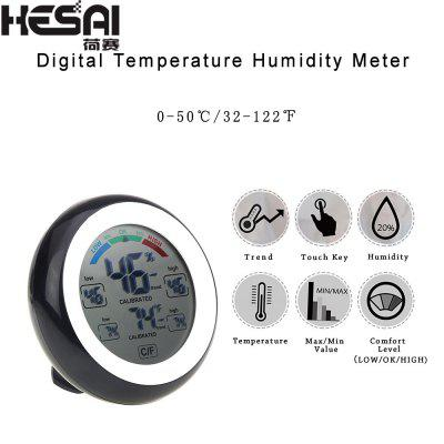 HESAI Digital Thermometer Hygrometer Electronic Temperature Gauge Humidity Meter Clock