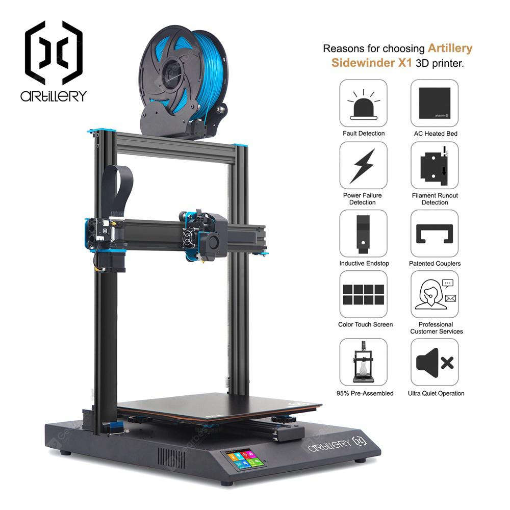 Artillery Sidewinder-X1 3d printers High Precision Large Plus Size 3d printer Dual Z axis TFT Touch - Black Germany 220V (entrep�t EU) 5%commissions