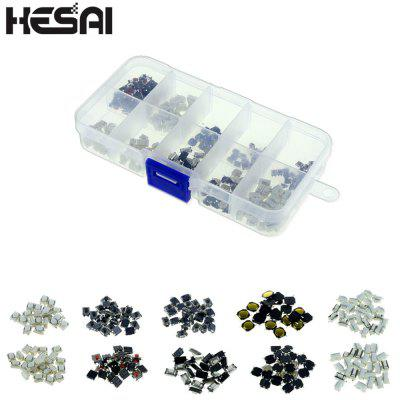 HESAI High Quality 250Pcs 10 Types Tactile Push Button Touch Switch Remote Keys Button Microswitch