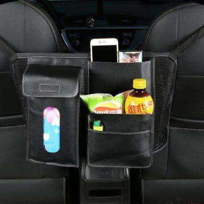 Car Seat Back Storage Bag Leather Organizer Phone Drinks Tissue Holder Travel Multi Pocket Box